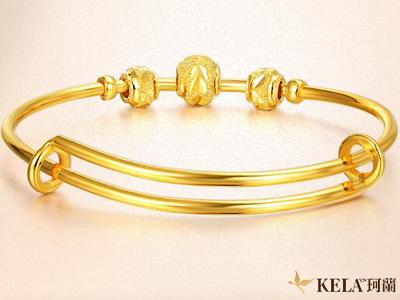 黄金手镯和手链 适合年轻人的金饰手链