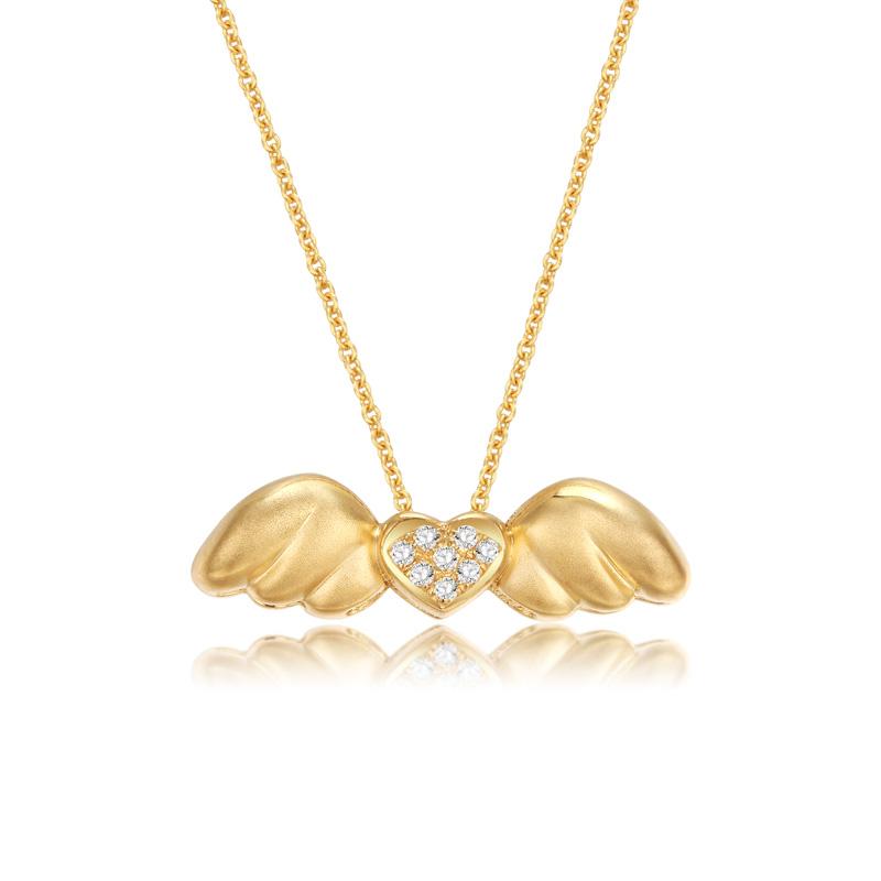 小天使 黄18K金钻石吊坠 时尚饰品 钻饰