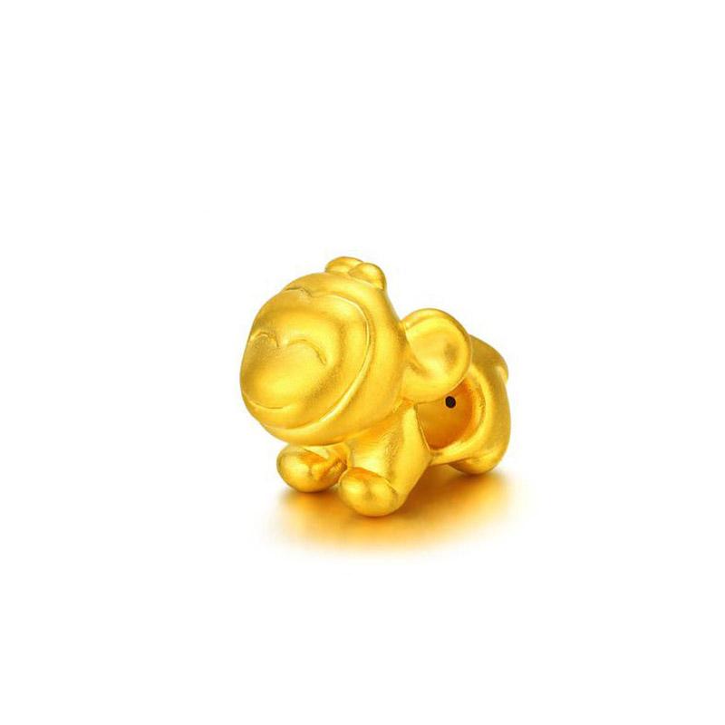 十二生肖 3D硬金俏皮猴转运珠H