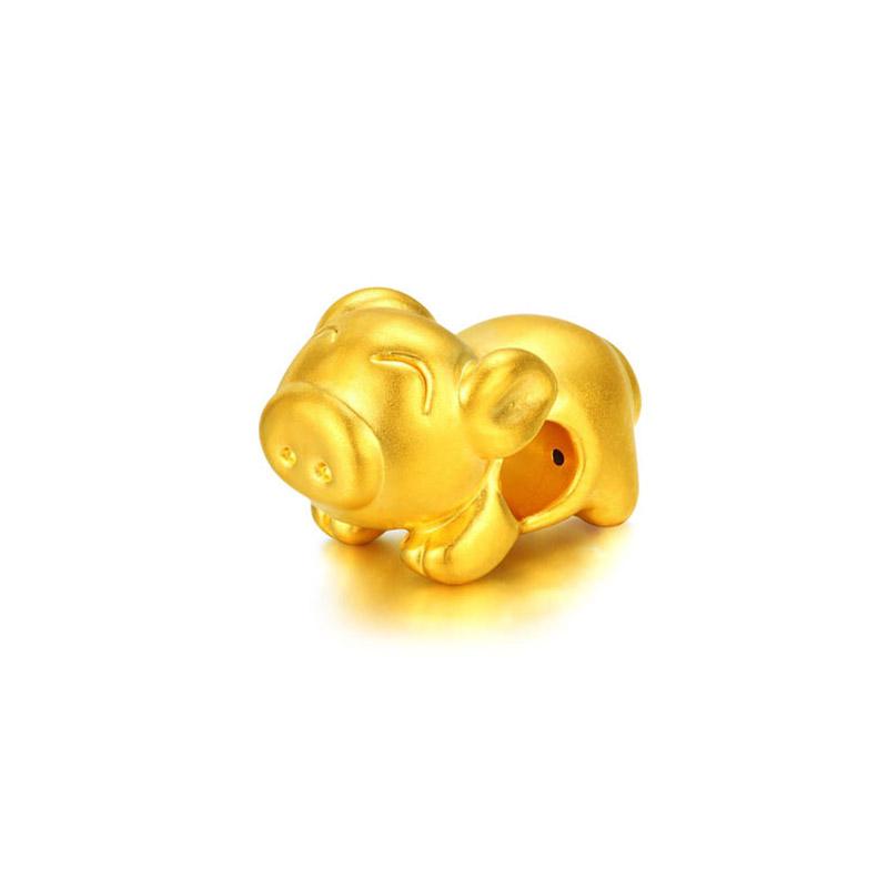十二生肖 3D硬金小懒猪转运珠H