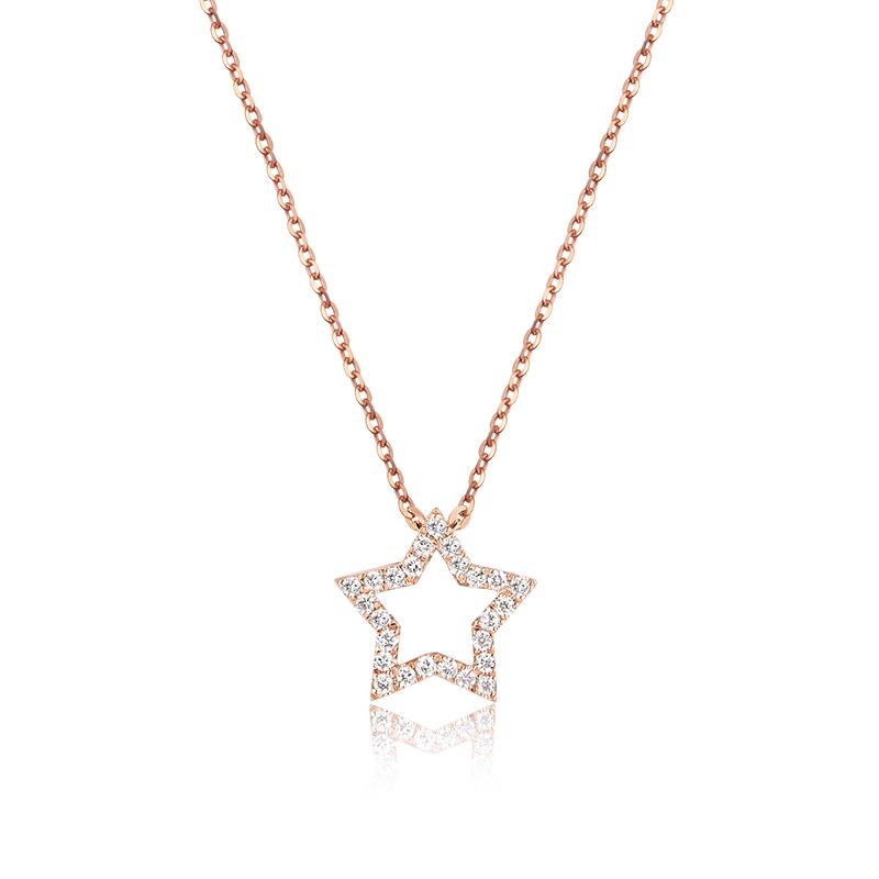 nature 玫瑰金星星套链 时尚饰品 钻饰