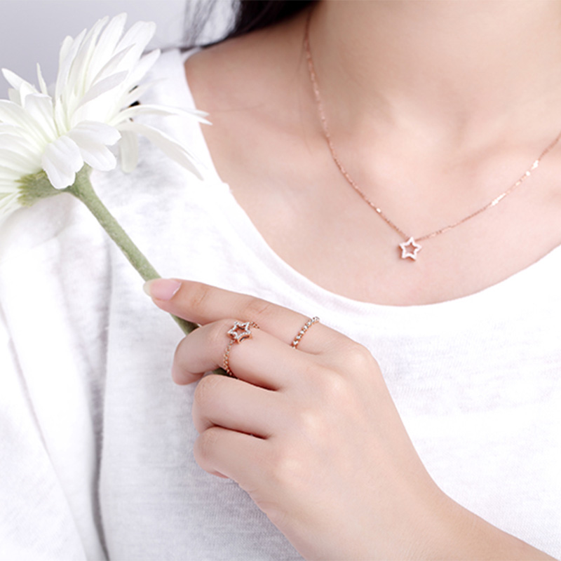 nature 玫瑰金星星套鏈 時尚飾...