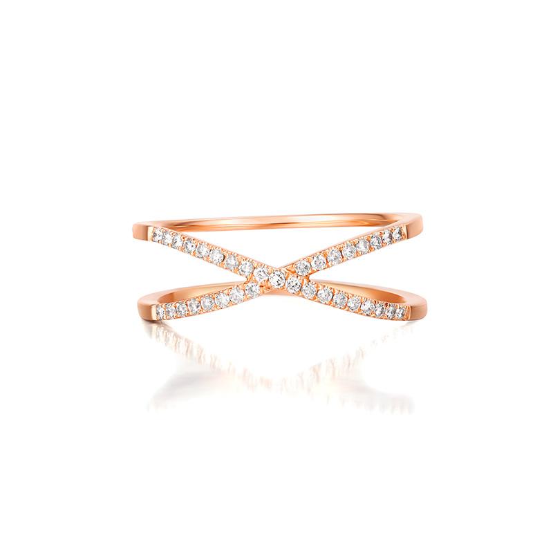 摇滚touch 18K玫瑰金钻石戒指 时尚饰品 钻戒