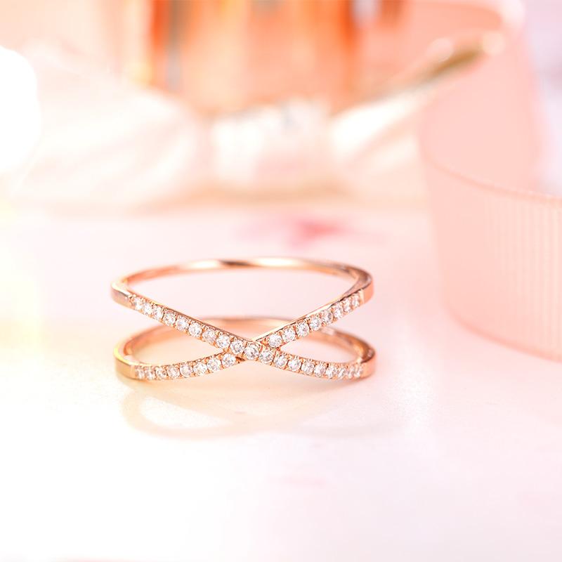 摇滚touch 18K玫瑰金钻石戒指...