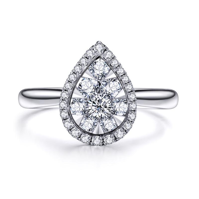 水滴时尚小版 白18K金钻戒 结婚钻戒