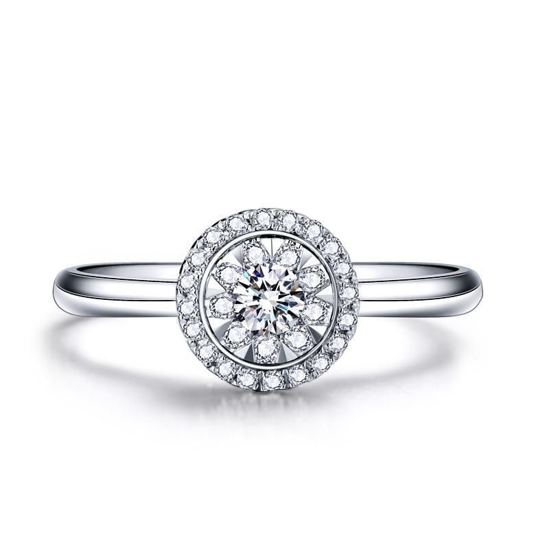 圆形时尚小版 白18K金钻戒