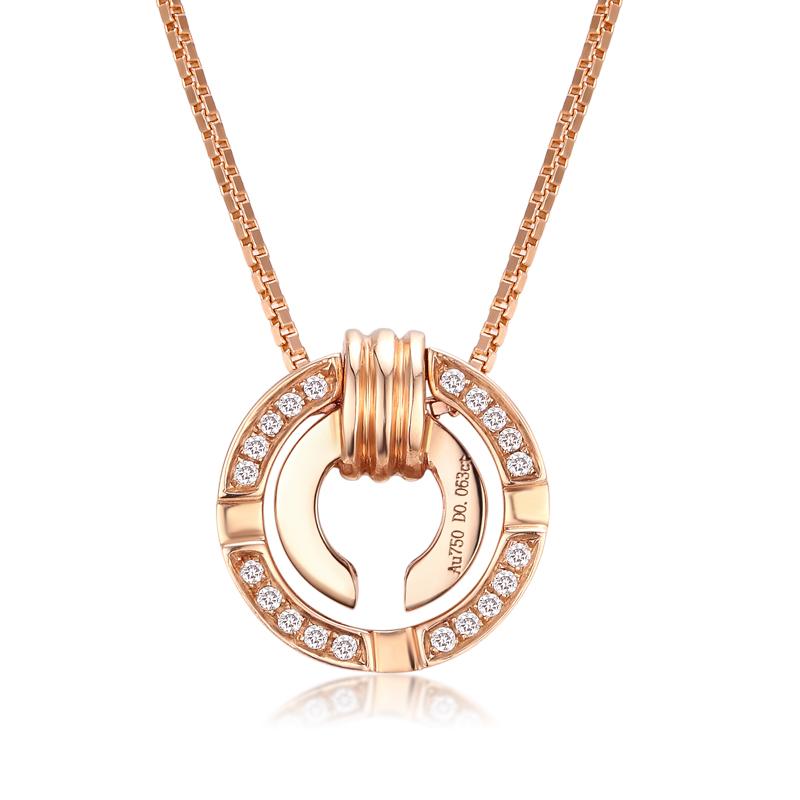 胧月 玫瑰金一款双戴钻石吊坠