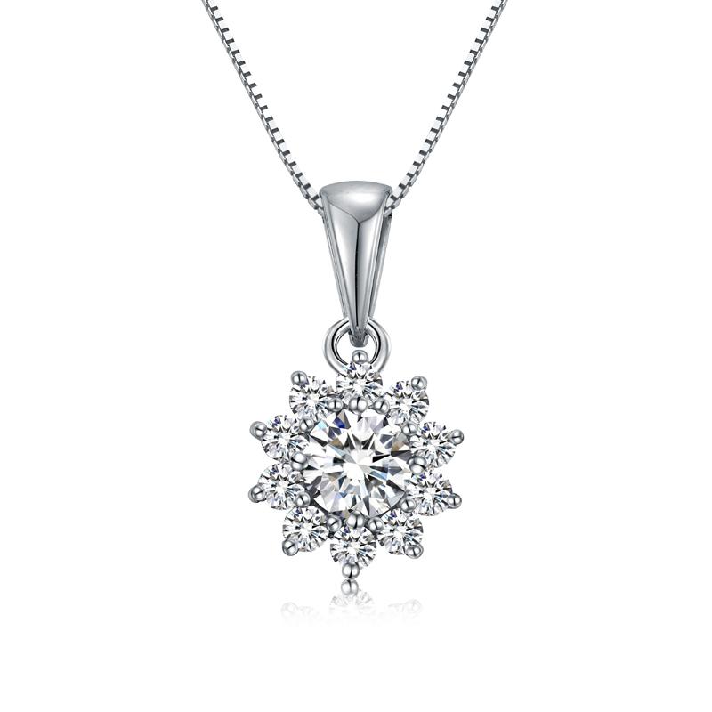 花晨 克拉效果18K金钻石吊坠 时尚饰品 钻饰