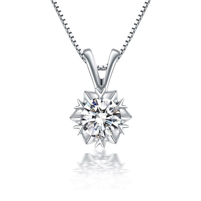 星光 白18K金钻石吊坠 时尚饰品 钻饰