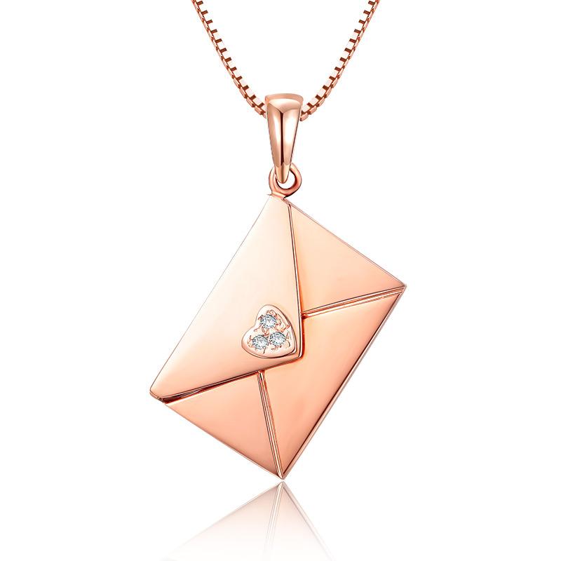 一封情书 玫瑰金钻石吊坠 时尚饰品 钻饰