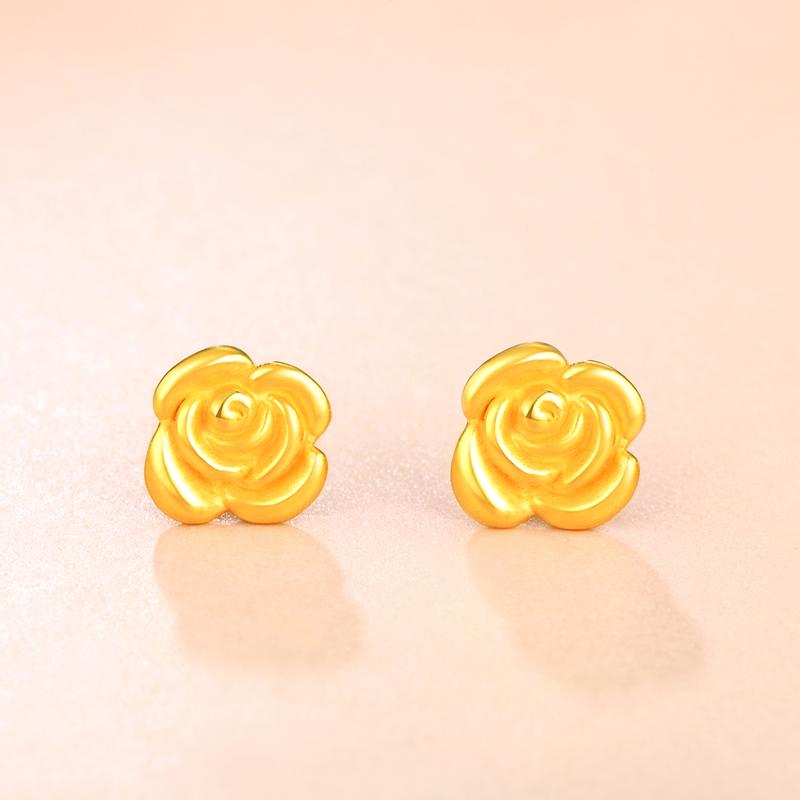 玫瑰花 3D黄金耳饰H