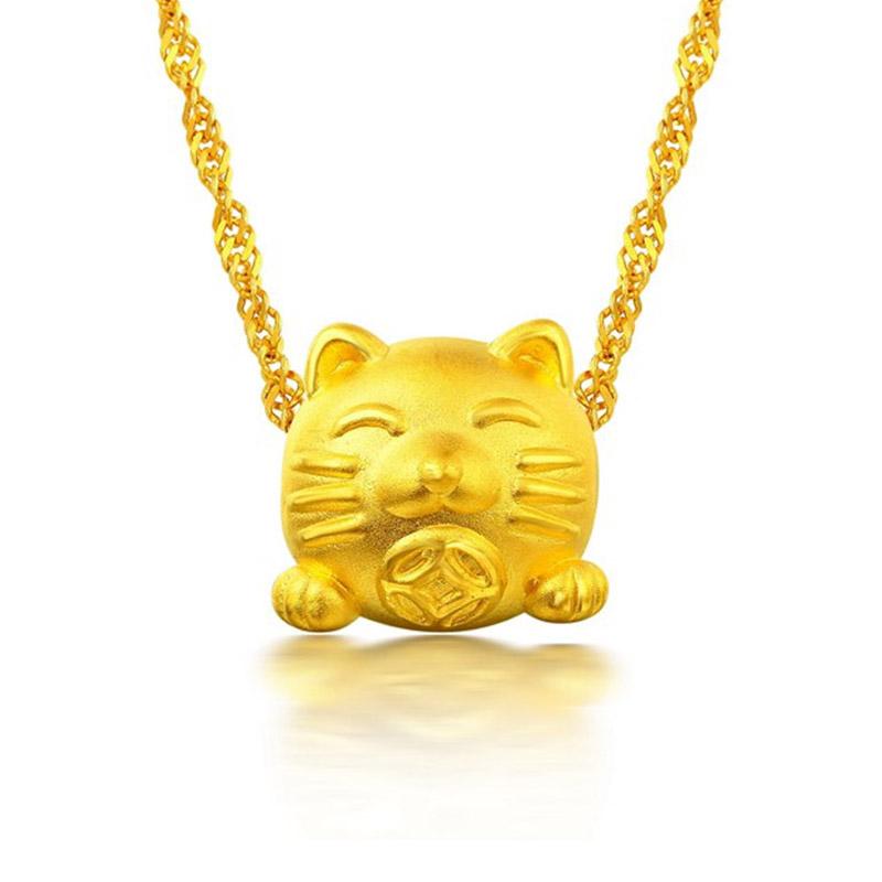 招财猫 3D硬金转运珠 一款两戴 H