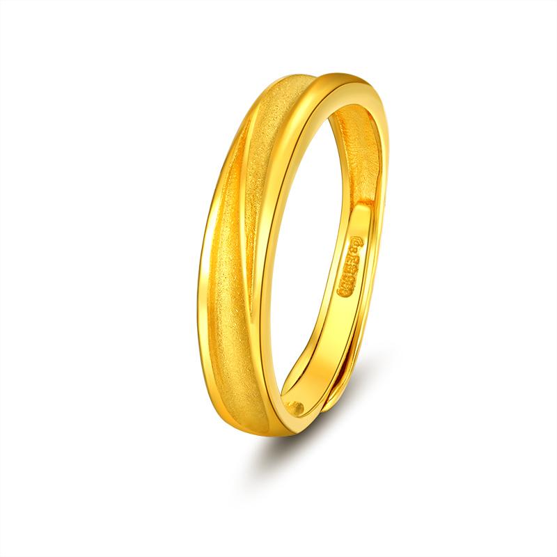 经典磨砂 黄金戒指H