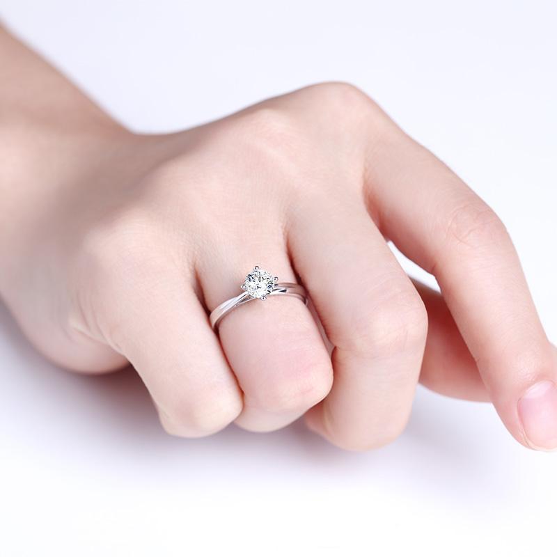 爱·玫瑰 白18K金钻石女戒 结婚钻...