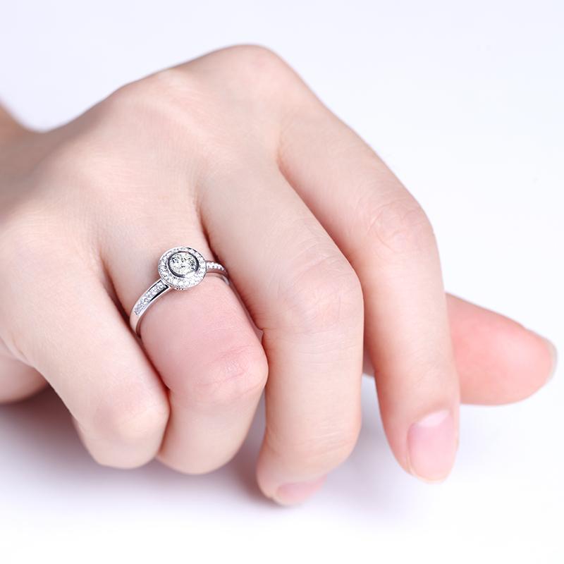 爱眸 18K金钻石女戒 结婚钻戒