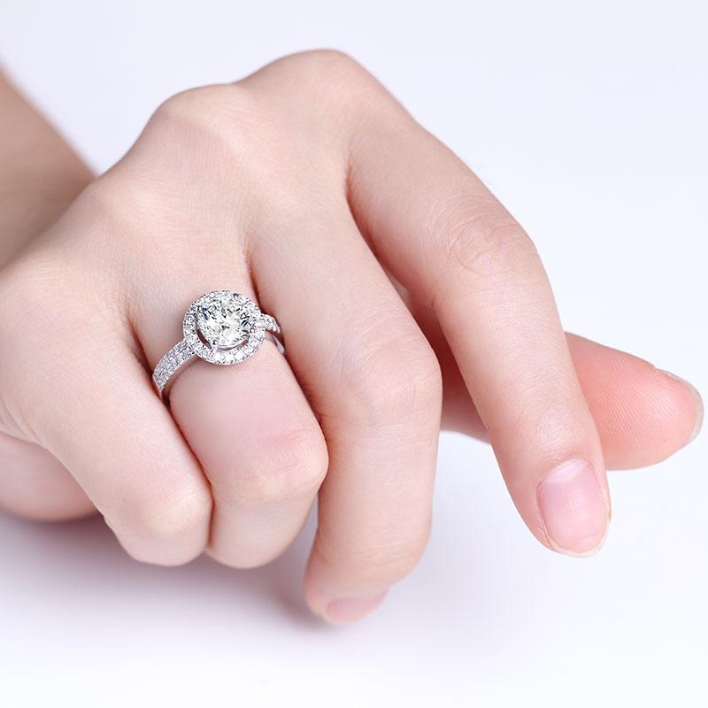 爱·同心 18K金钻石女戒 结婚钻戒