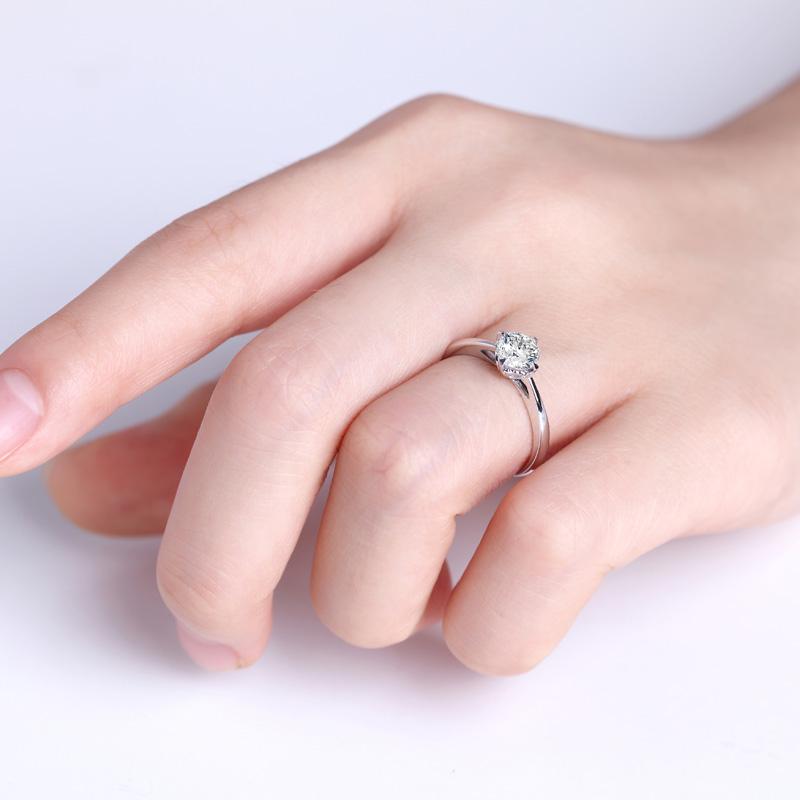 爱之密语 白18K金钻石女戒 结婚钻...