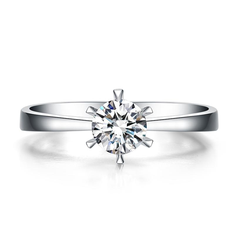 白雪 白18K金钻石女戒 结婚钻戒