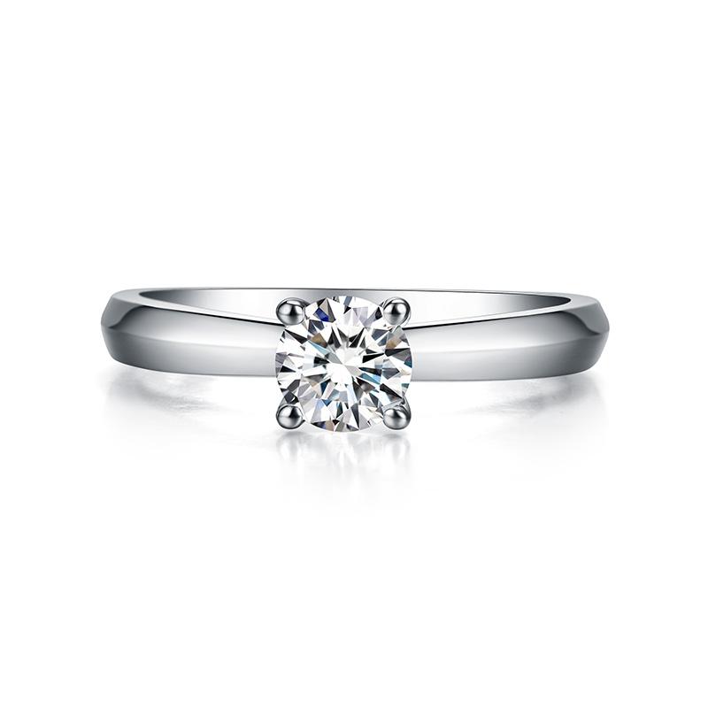 隽秀 白18K金钻石女戒 结婚钻戒