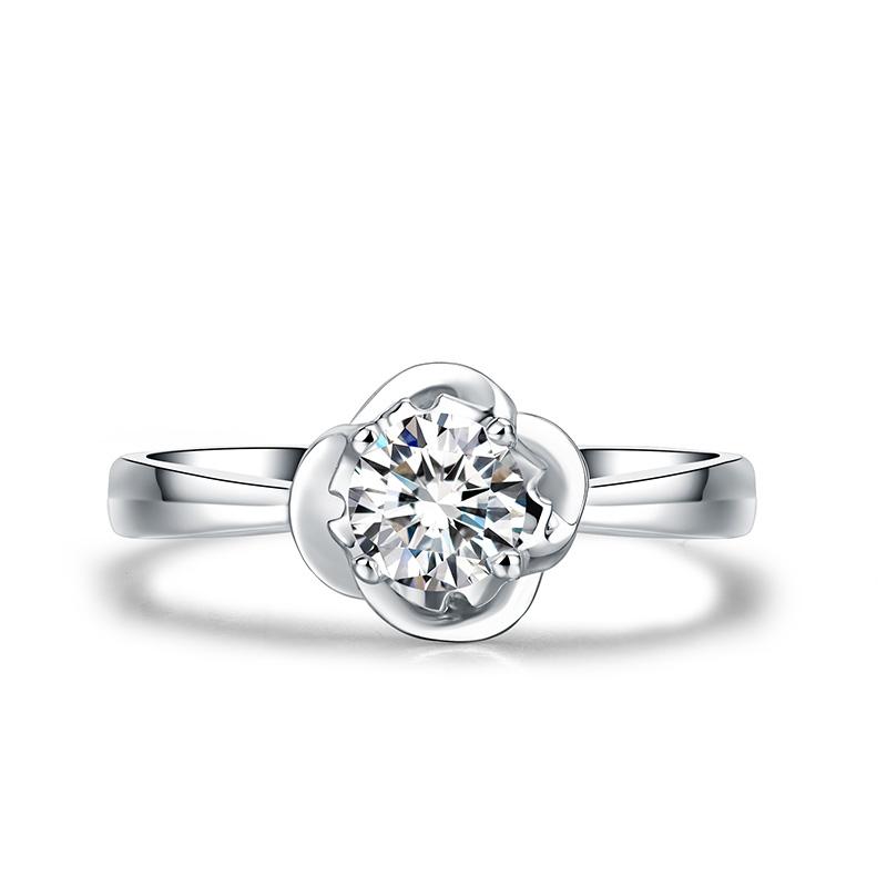 玫瑰人生 白18K金钻石女戒 结婚钻戒