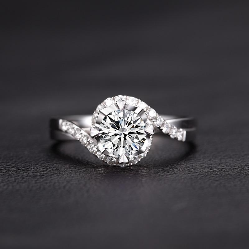 你是我的眼 18K金钻石女戒 结婚钻...