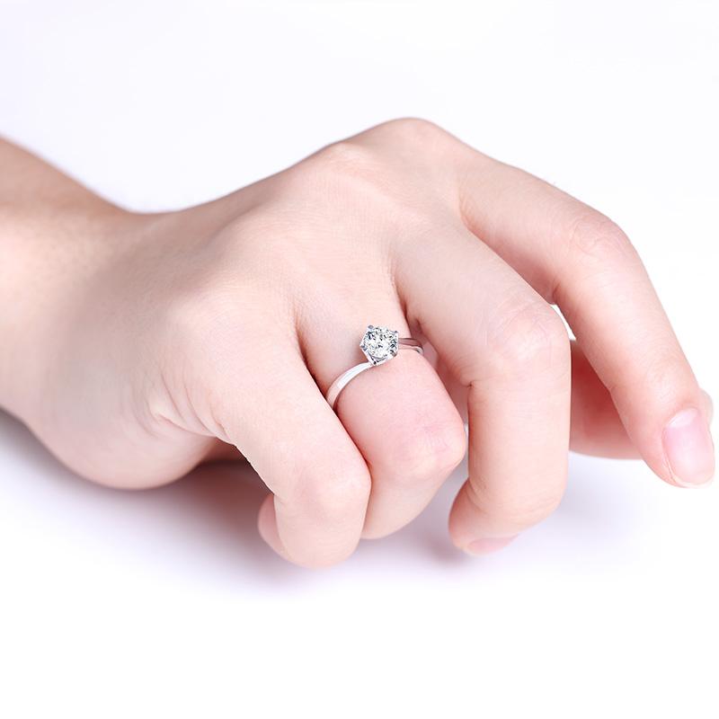 暖心 白18K金钻石女戒 结婚钻戒
