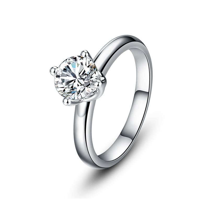 女主角 白18K金钻石女戒 结婚钻戒