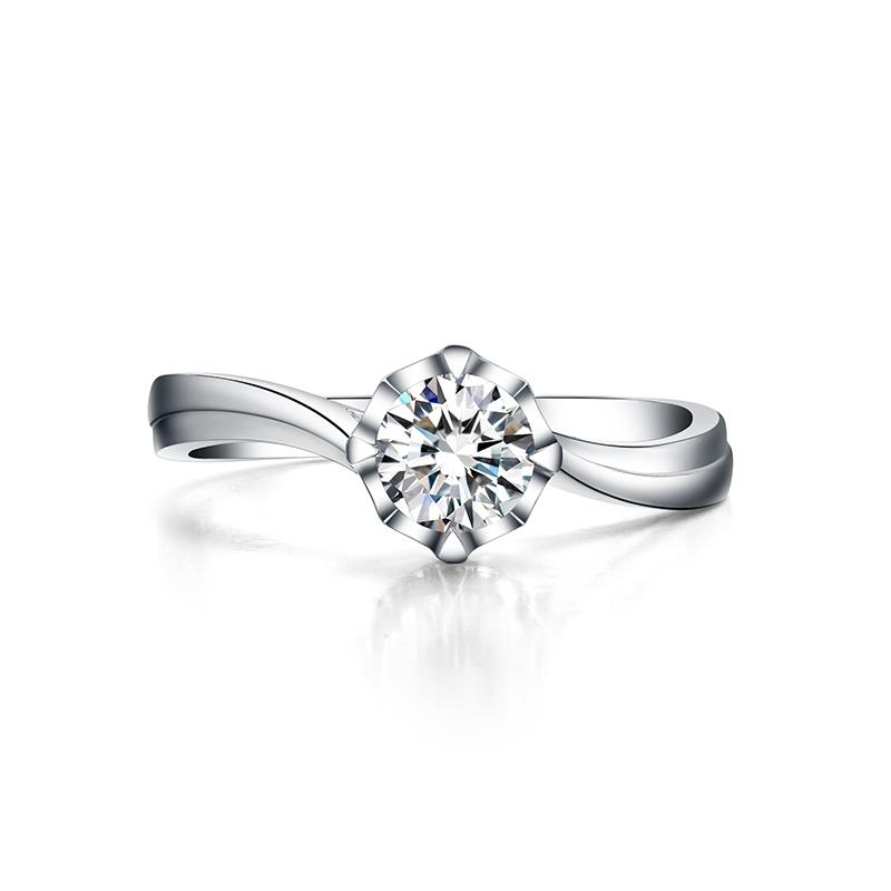 丘比特之心 白18K金钻石女戒 结婚钻戒