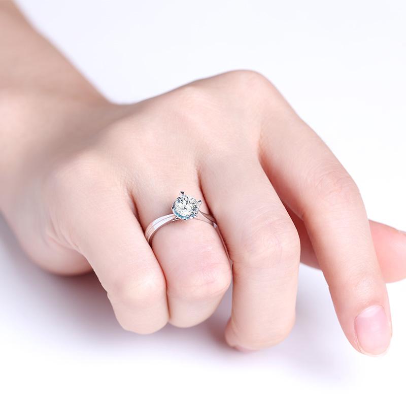 丘比特之心 白18K金钻石女戒 结婚...