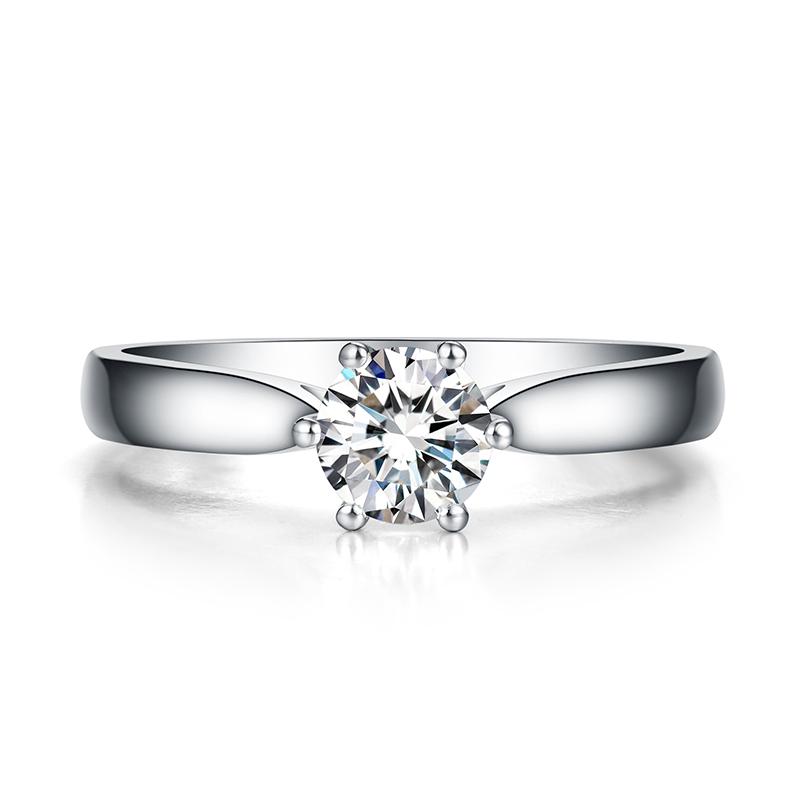 日冕 白18K金钻石女戒 结婚钻戒