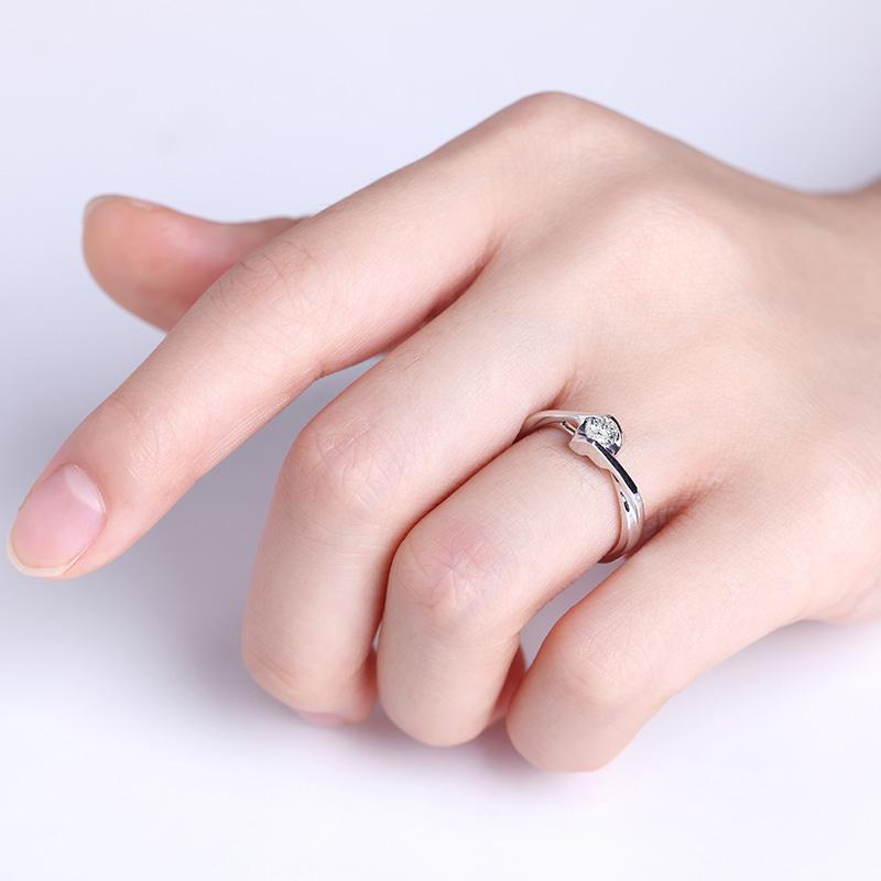 天使 白18K金钻石女戒 结婚钻戒