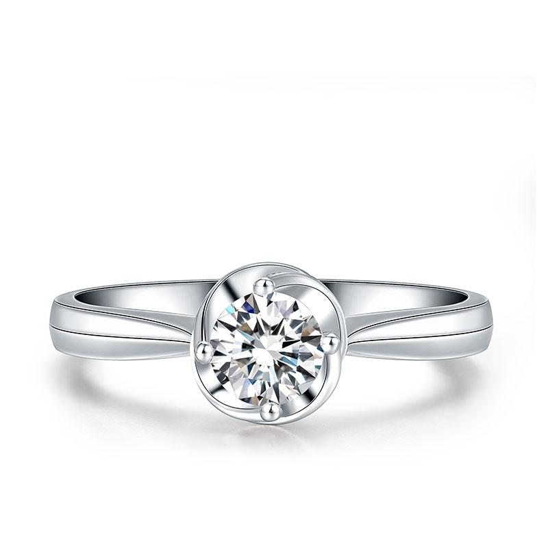 一生之光 白18K金钻石女戒 结婚钻戒