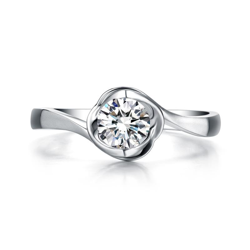 一往情深 白18K金钻石女戒 结婚钻戒