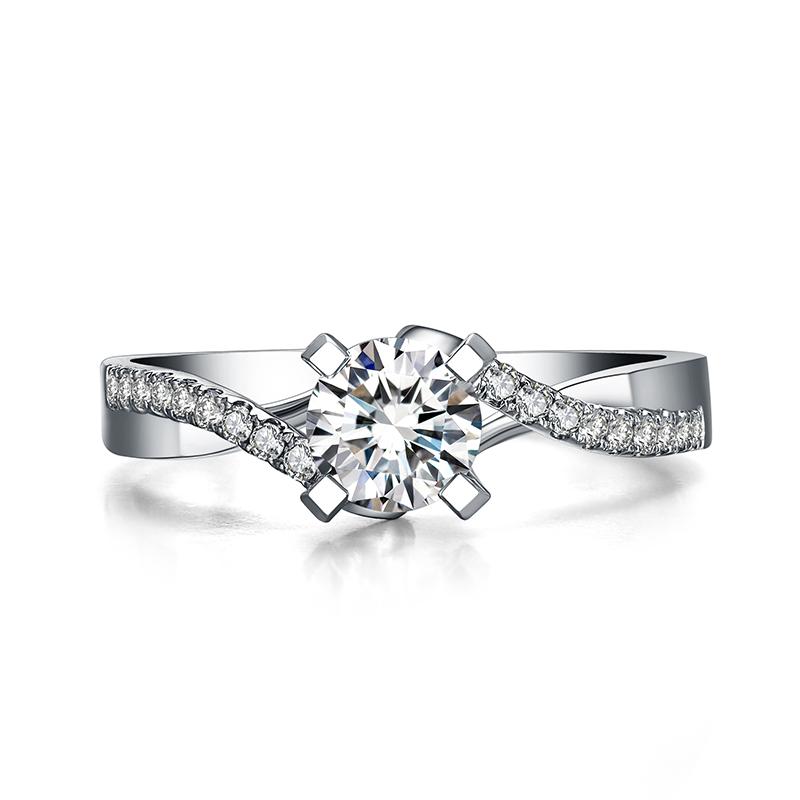 拥爱一生 18K金钻石女戒 结婚钻戒