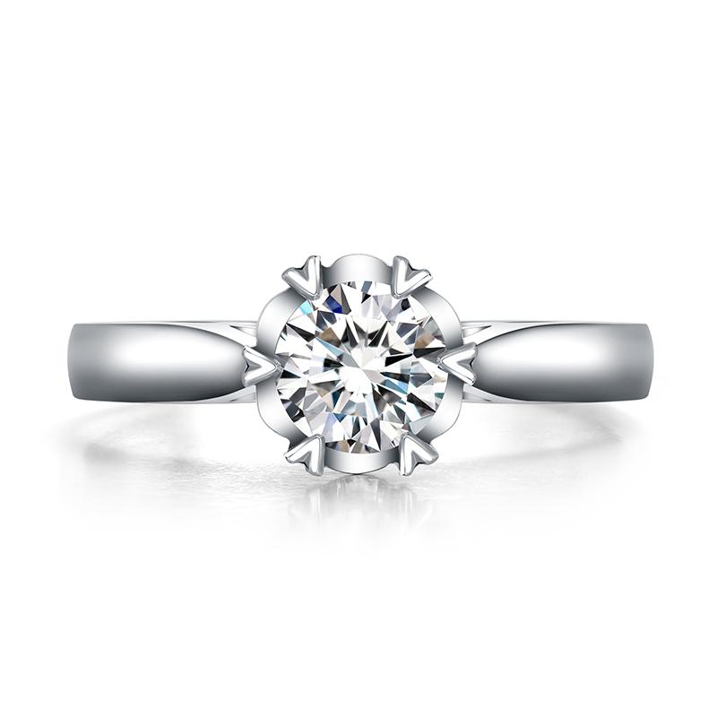 衷心 白18K金钻石女戒 结婚钻戒