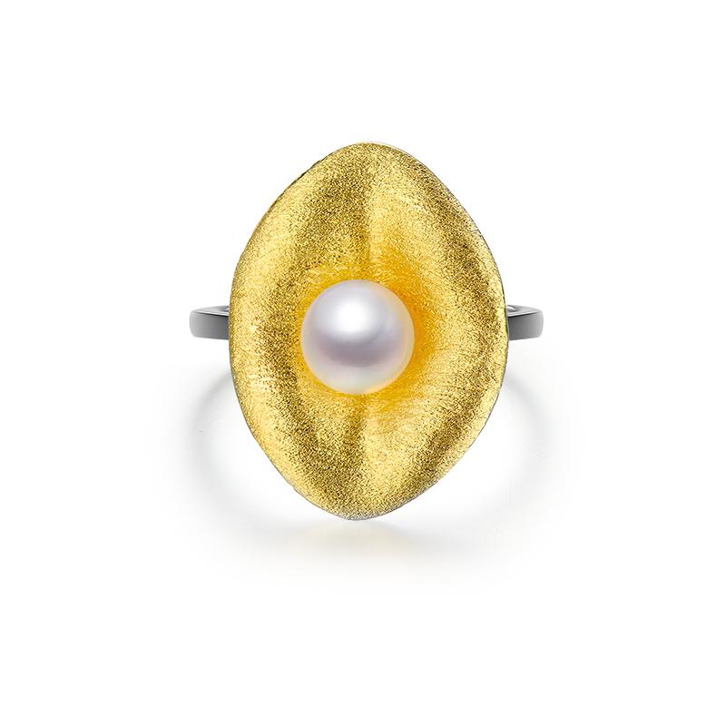露珠 S925珍珠戒指 巨蟹座守护石