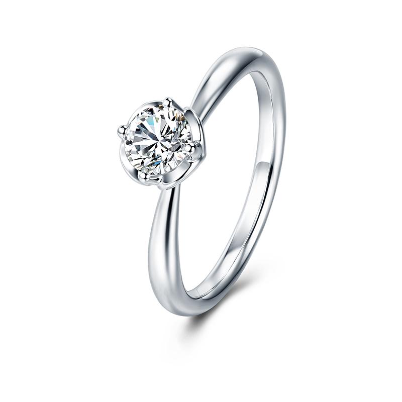 天鹅湖系列-心心相印 白18K金钻石女戒