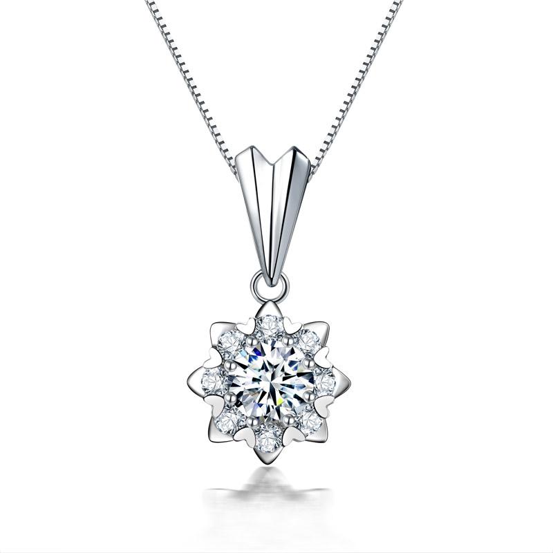 爱绽放 白18K金钻石吊坠 时尚饰品 钻饰 新年礼物