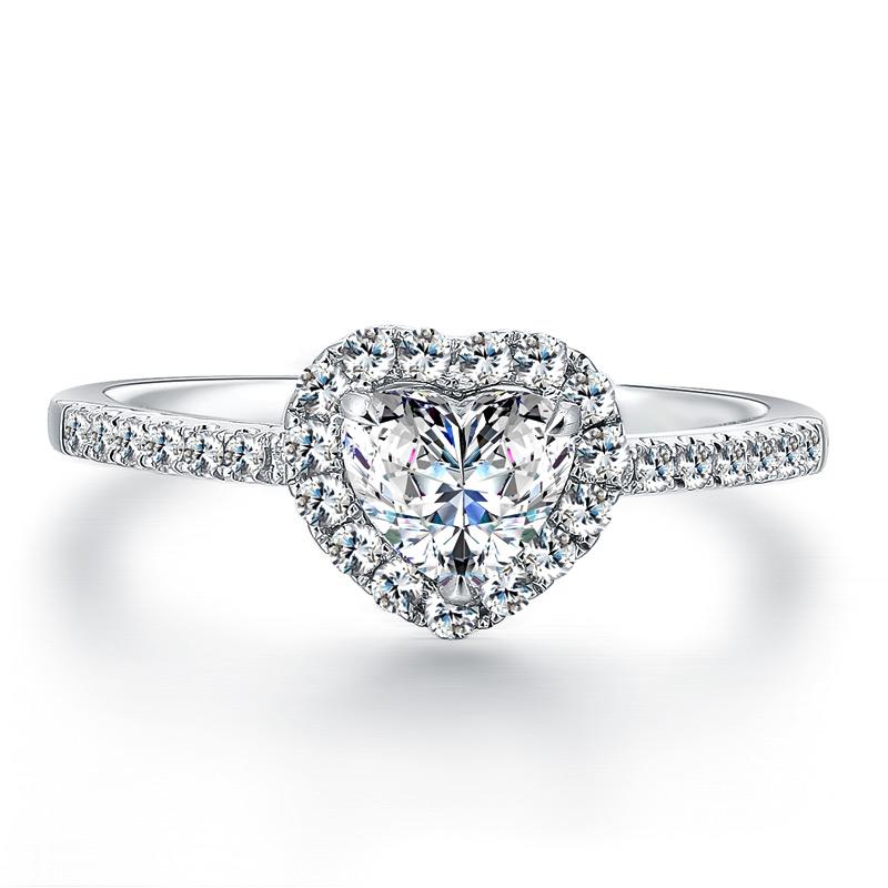 绝代芳华 白18K金钻石女戒 结婚钻戒