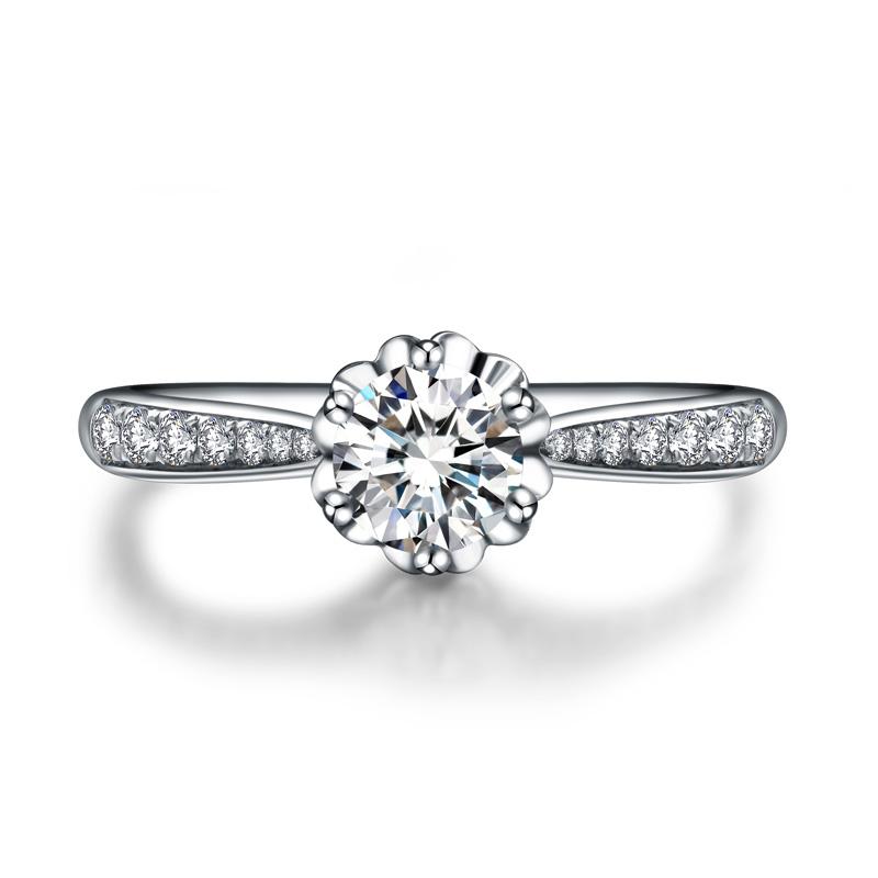 旋转皇冠显钻版 白18K金钻石女戒 结婚钻戒