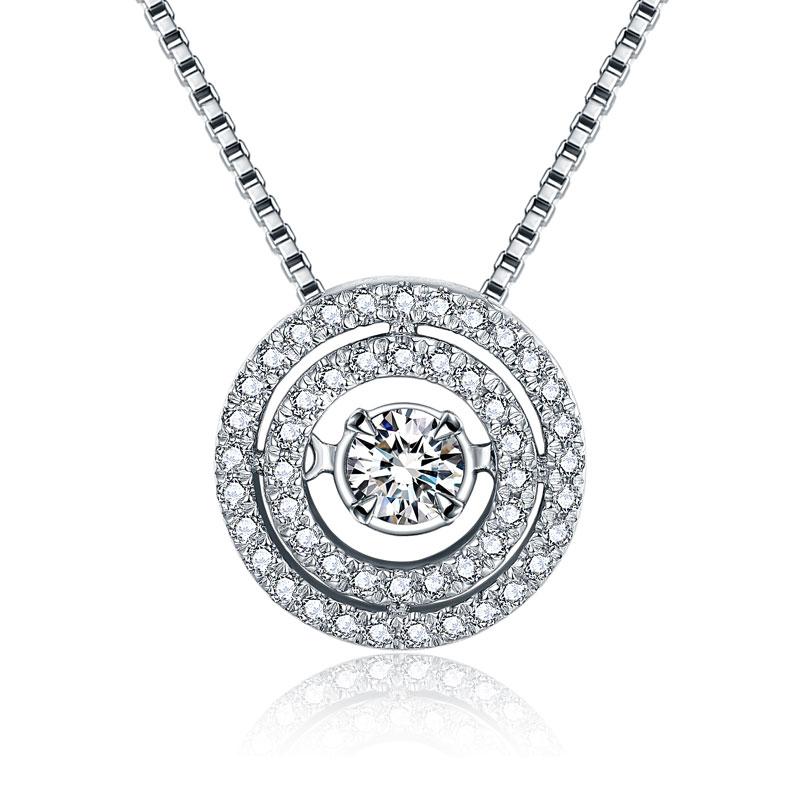 怦然心动系列 白18K金钻石吊坠 时尚饰品 钻饰