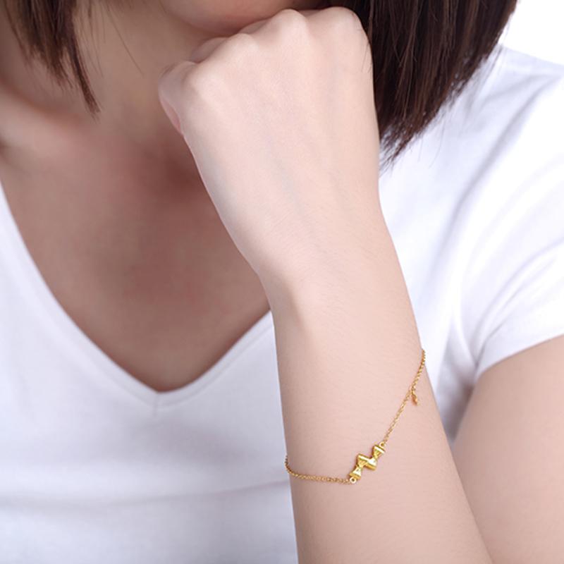 蝴蝶结 黄金手链H