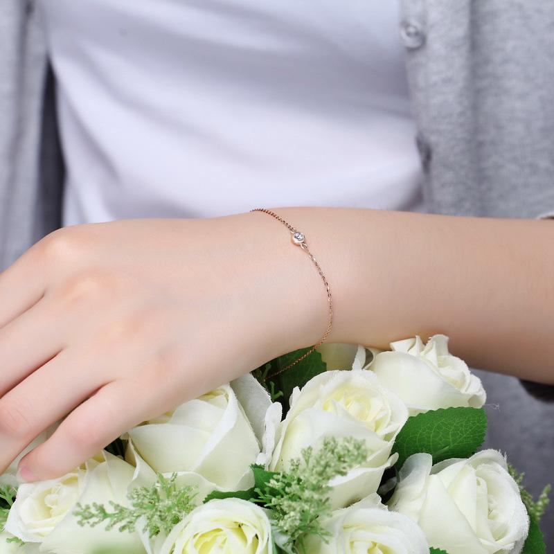 天使光環 玫瑰金鉆石手鏈 時尚飾品 ...