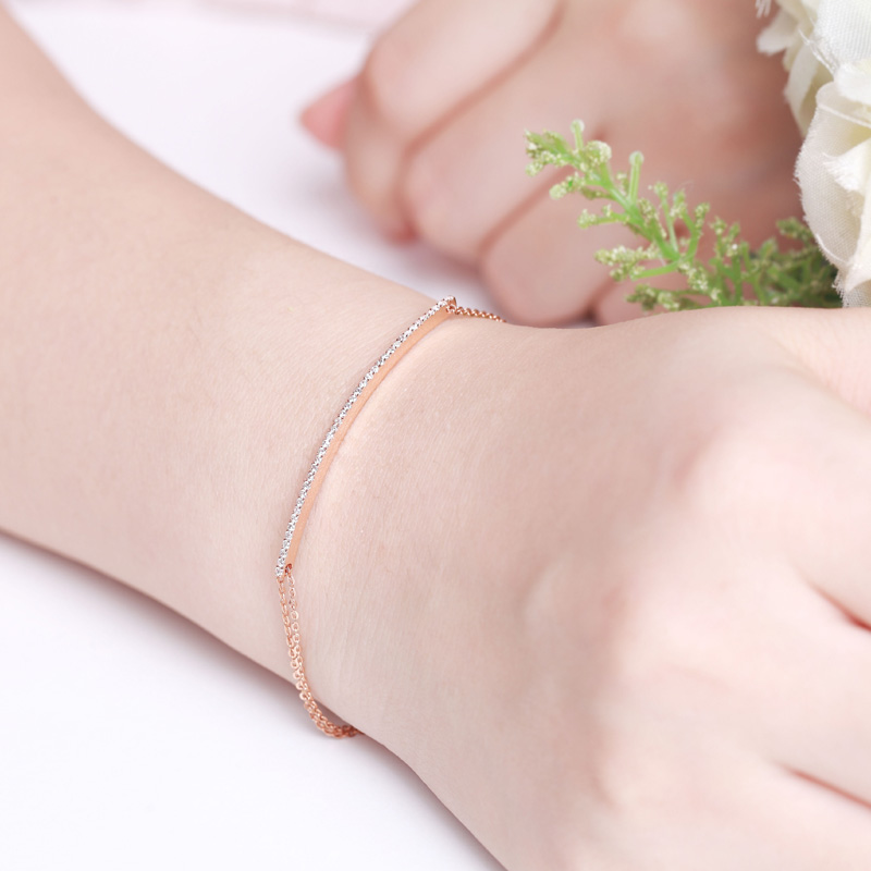 流光 玫瑰金钻石手链 时尚饰品 钻饰