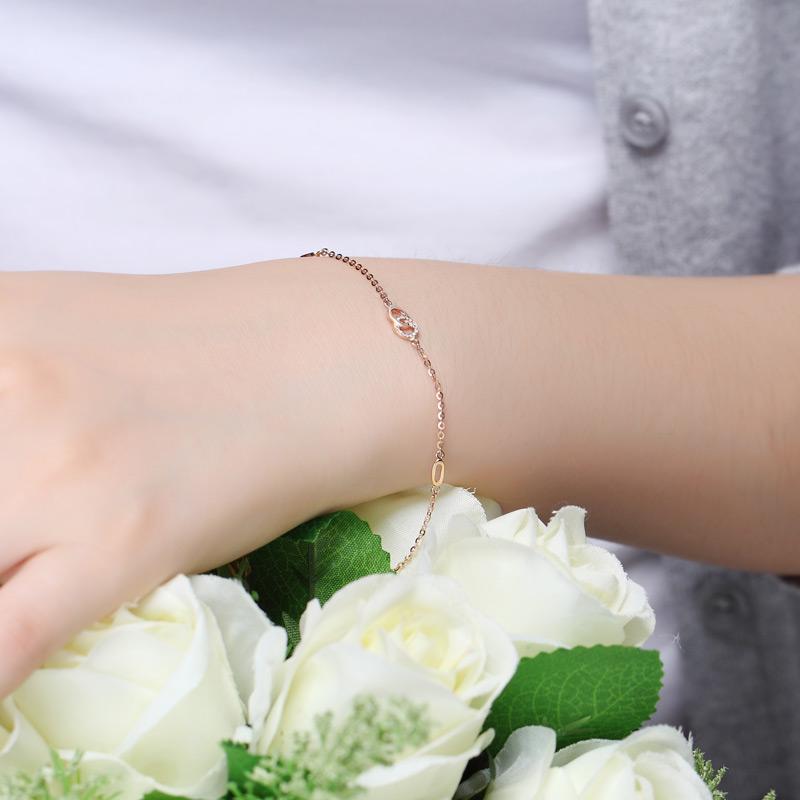 情扣 玫瑰金钻石手链 时尚饰品 钻饰