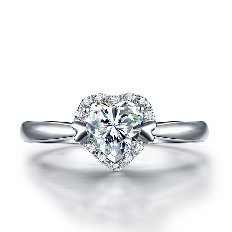 爱情告白 18K金心形钻石女戒 结婚钻戒