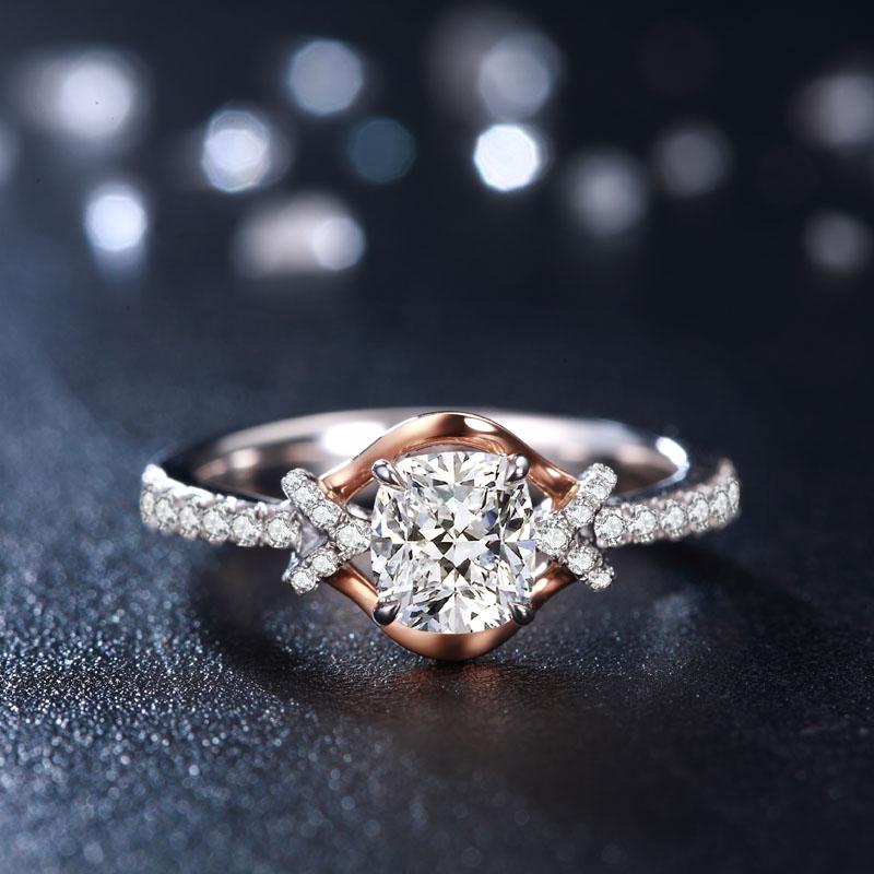 玛格丽特公主 稀缺1.2克拉枕形钻18K金豪华钻石女戒