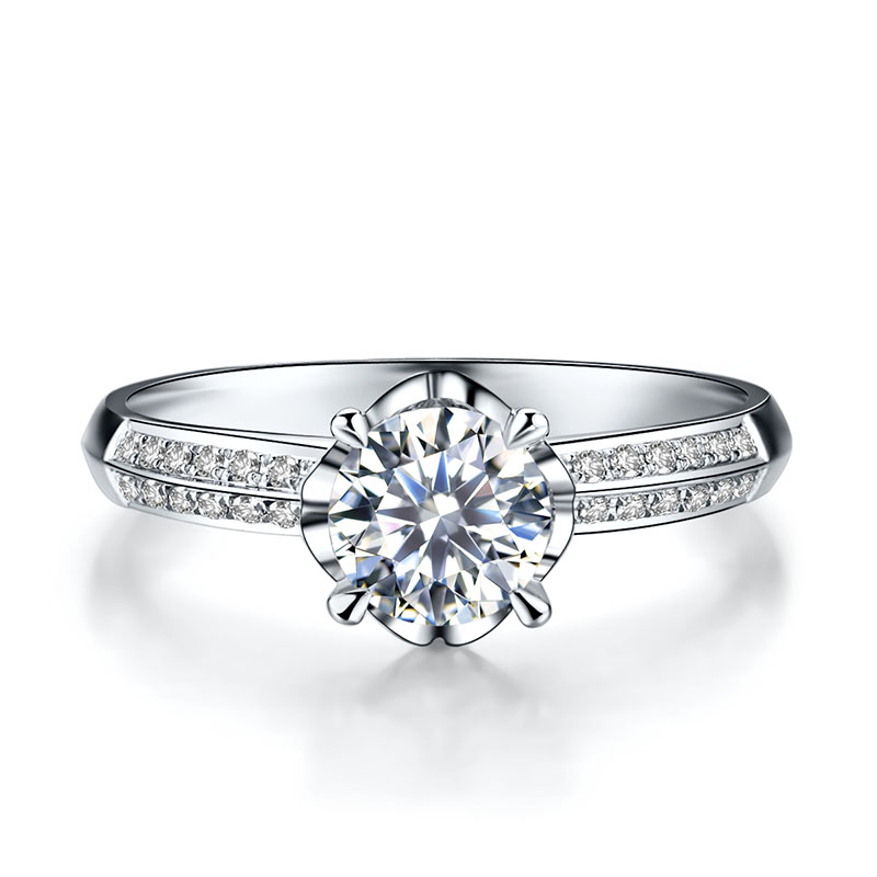 诺言 白18K金钻石女戒