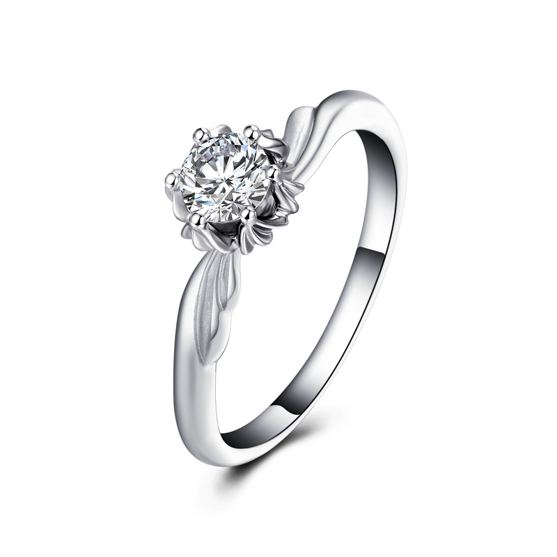 天鹅系列 白18K金钻石女戒 结婚钻戒
