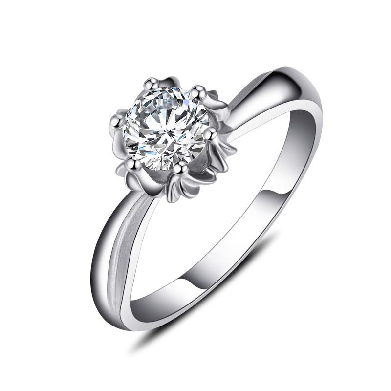 天鹅湖系列 白18K金钻石女戒 结婚钻戒